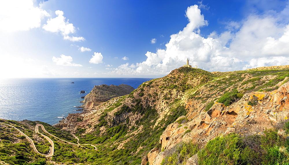 Lighthouse of Capo Sandalo, San Pietro Island, Sud Sardegna province, Sardinia, Italy, Mediterranean, Europe