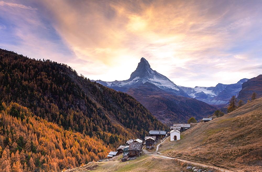 Sunset at Findeln village with Matterhorn in the background. Zermatt, Mattertal, Canton of Valais, Switzerland, Europe