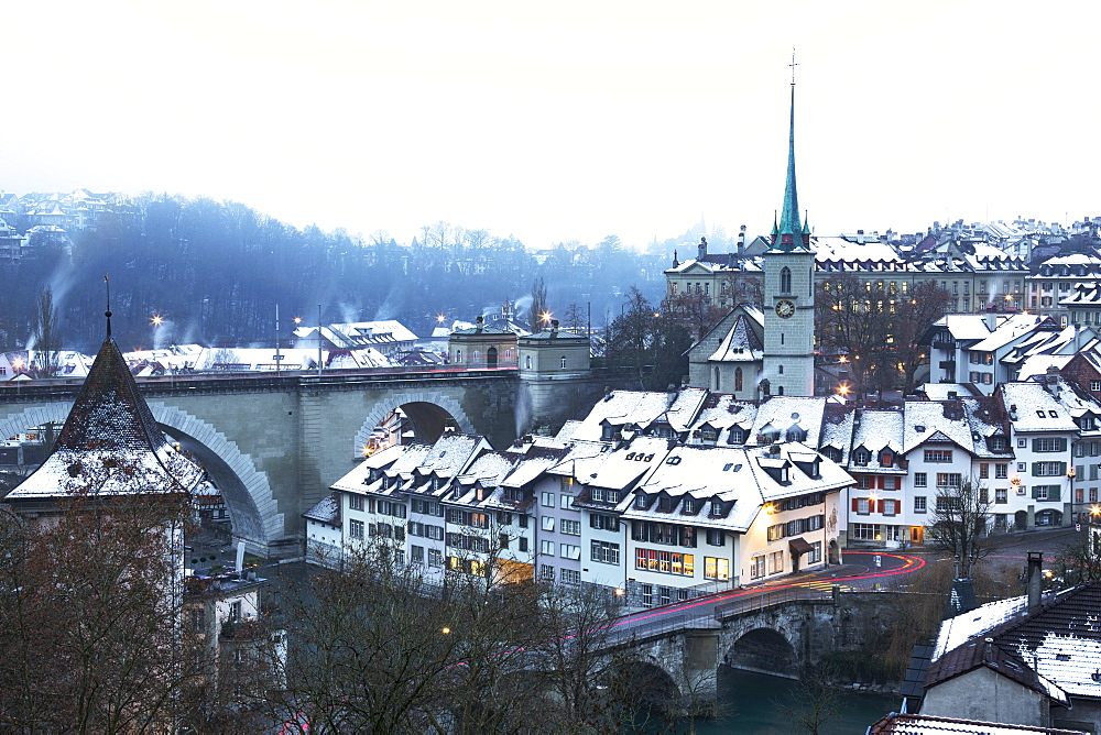 Foggy winter dusk at Bern, Canton of Bern, Switzerland, Europe