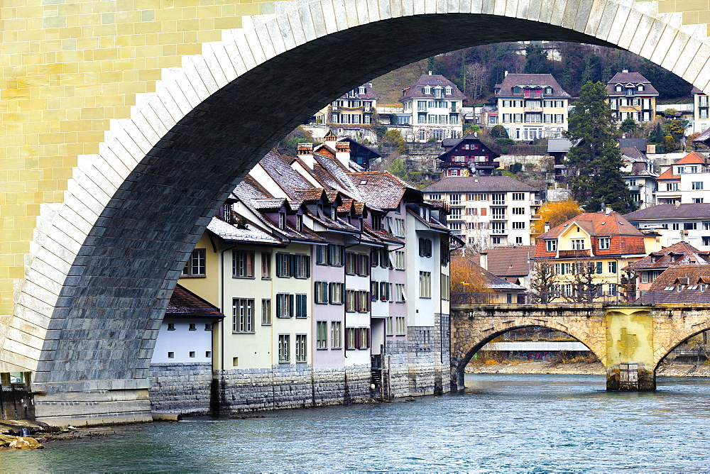 Traditional houses along the river, Bern, Canton of Bern, Switzerland, Europe