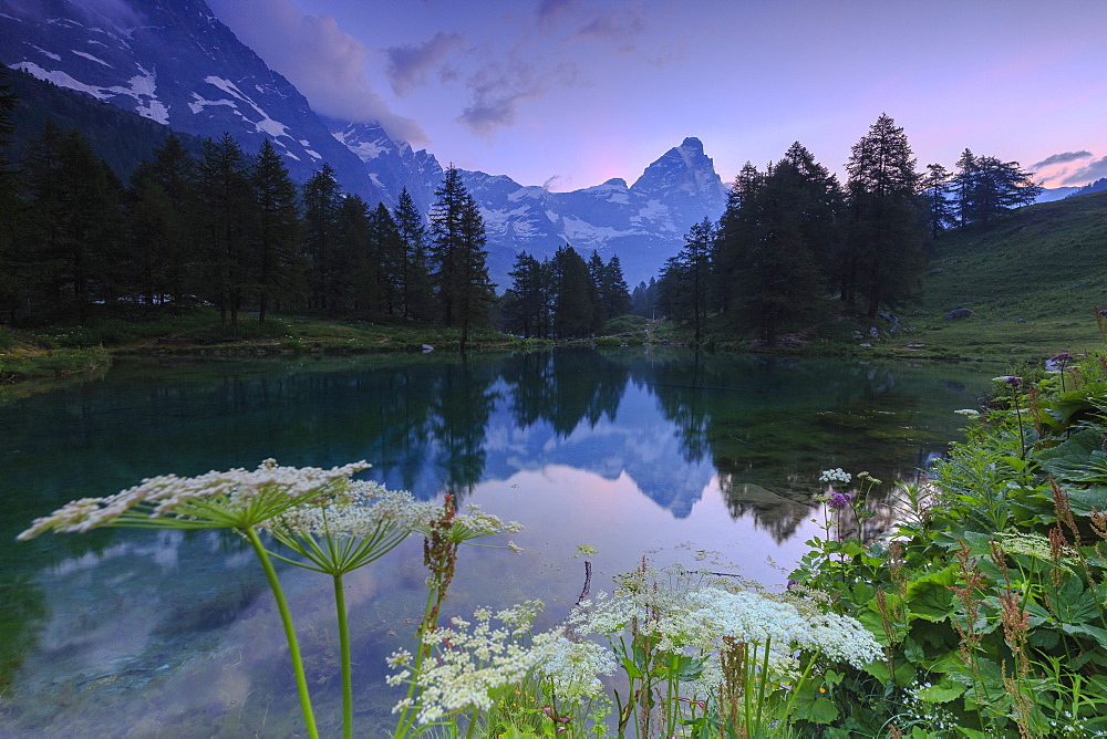 Sunrise from famous Blue Lake (Il Lago Blu), Cervinia, Valtournanche, Aosta Valley, Italy, Europe
