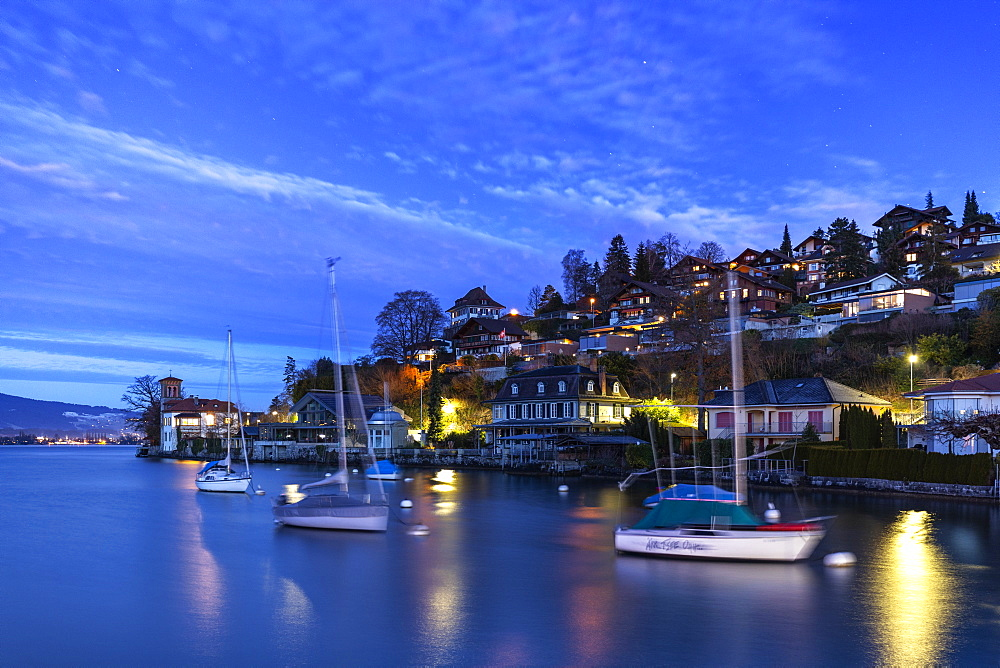 Twilight at Oberhofen am Thunersee, Canton of Bern, Switzerland, Europe