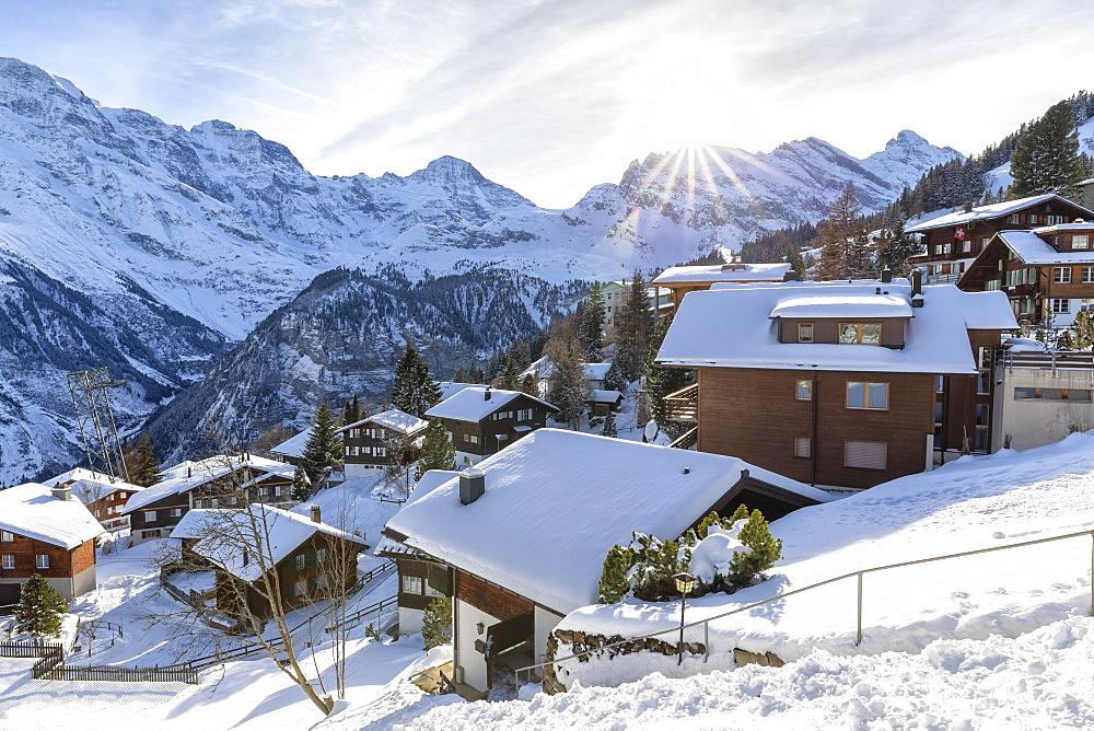 Traditional houses of Murren, Lauterbrunnen valley, Canton of Bern, Switzerland, Europe - 1269-432