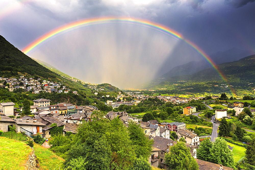 Rainbow above the valley, Valtellina, Lombardy, Italy, Europe - 1269-440