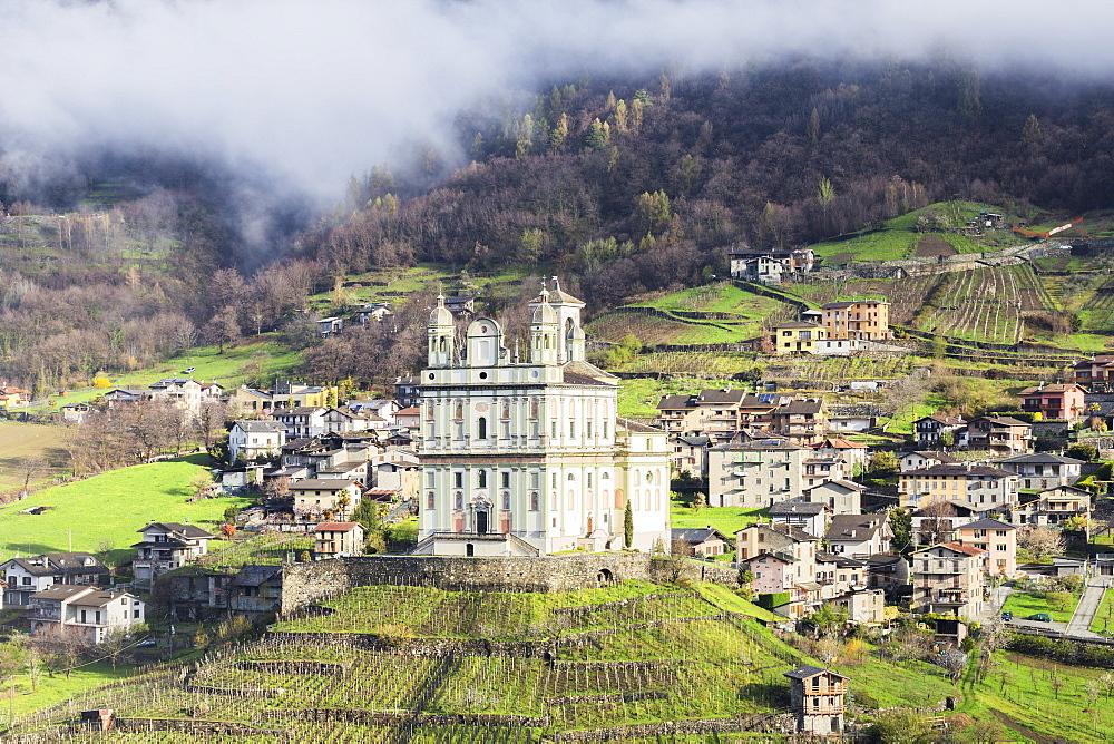 Santa Casa church in spring, Tresivio, Valtellina, Lombardy, Italy, Europe - 1269-442
