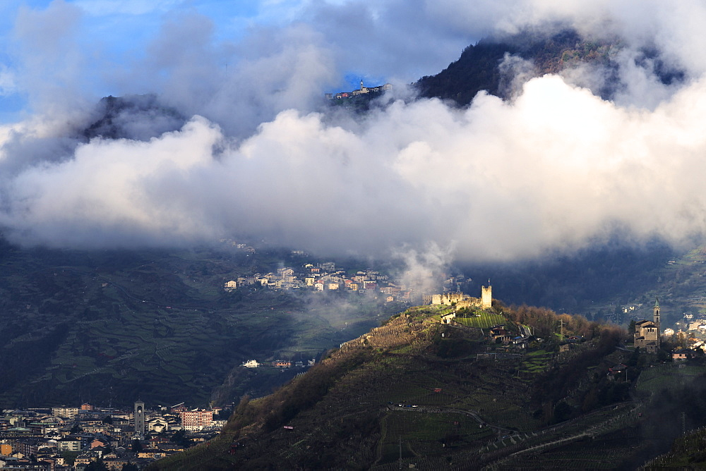 Grumello castle illuminated by sun, Sondrio, Valtellina, Lombardy, Italy, Europe
