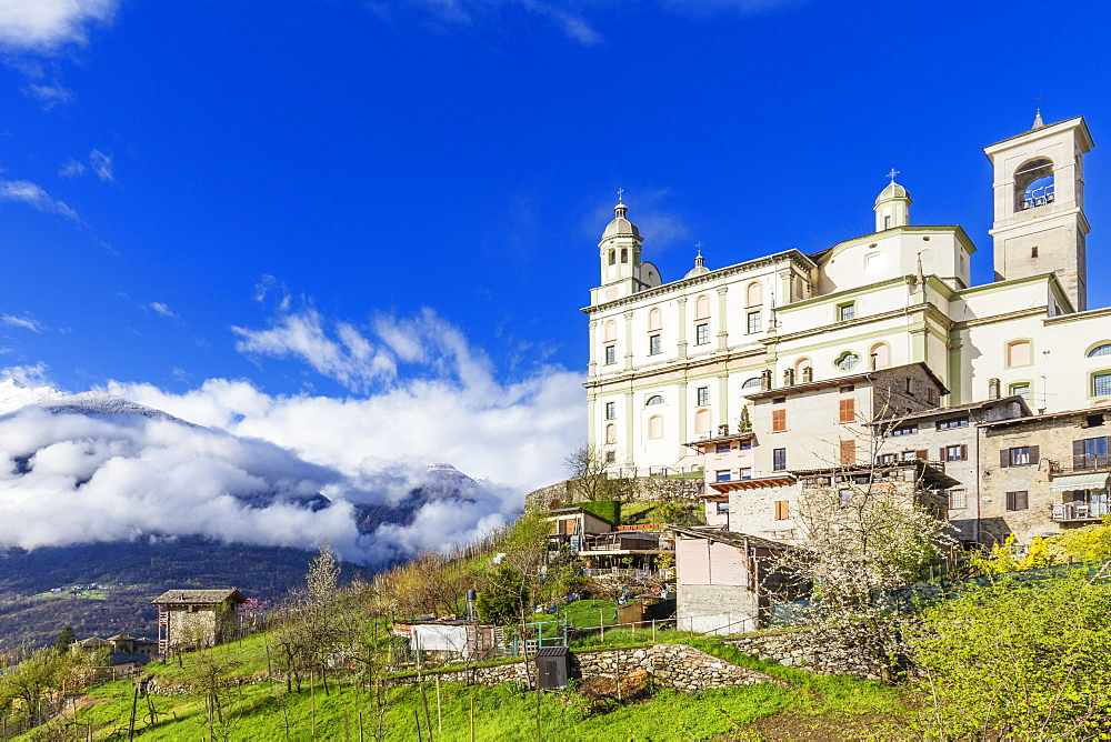 Church of Santa casa in spring, Tresivio, Valtellina, Sondrio province, Italy, Europe