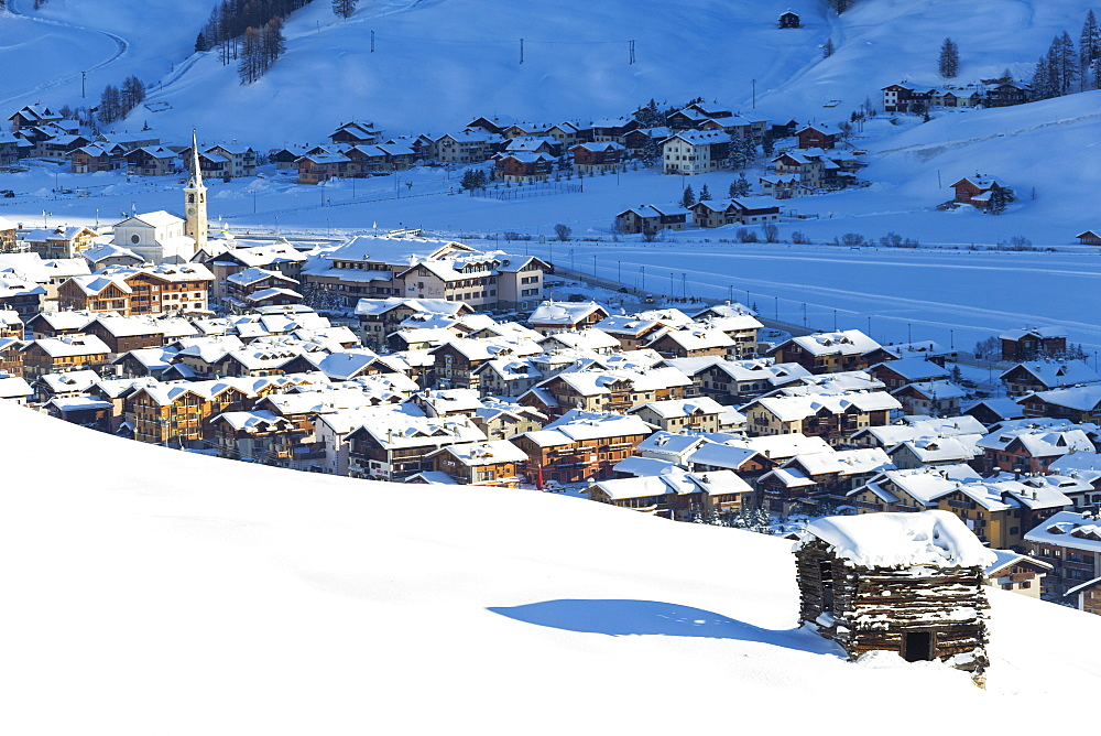 Village illuminated by sun after a snowfall, Livigno, Valtellina, Lombardy, Italy, Europe