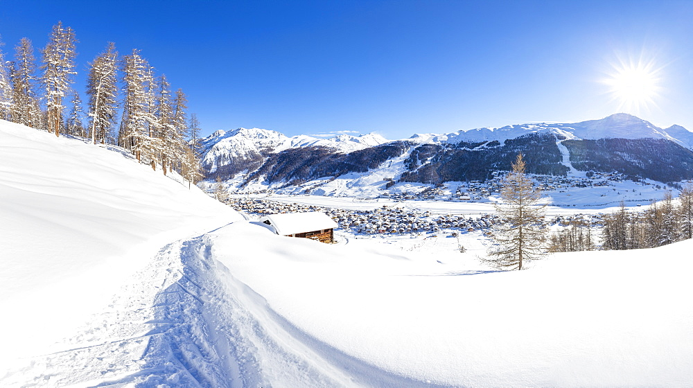 Panoramic view of a winter path with a traditional hut in the winter scenery, Livigno, Valtellina, Lombardy, Italy, Europe - 1269-467