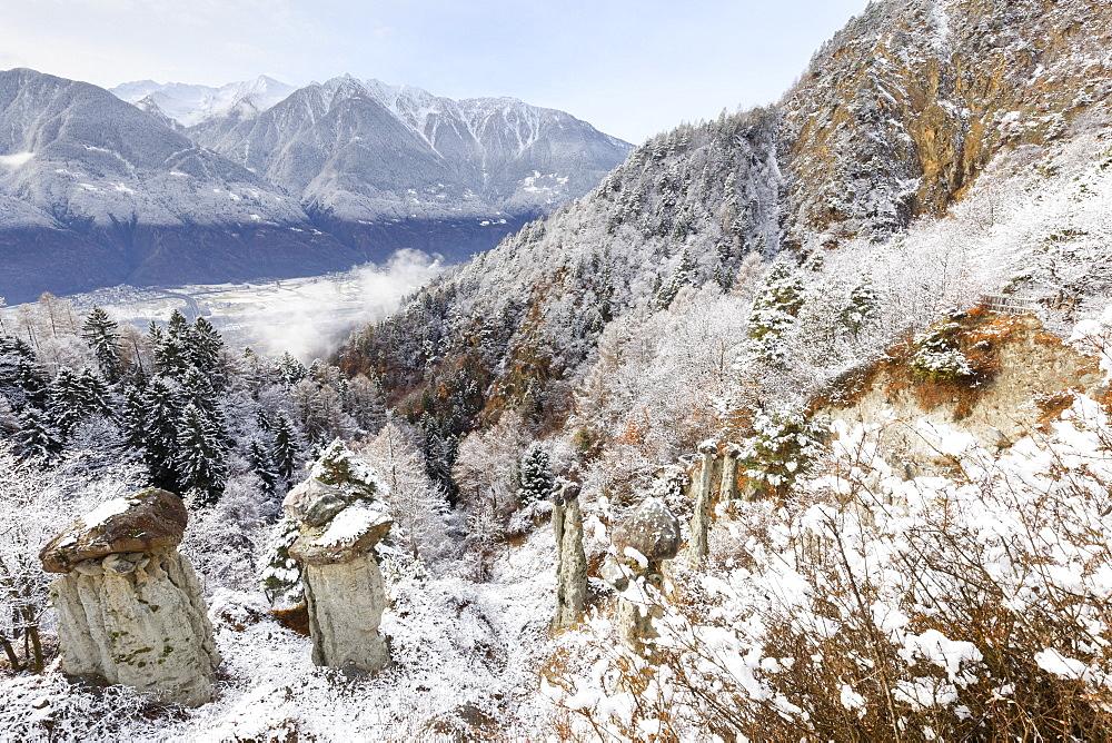 Hoodoos of Postalesio after a snowfall, Postalesio, Valtellina, Lombardy, Italy, Europe - 1269-471