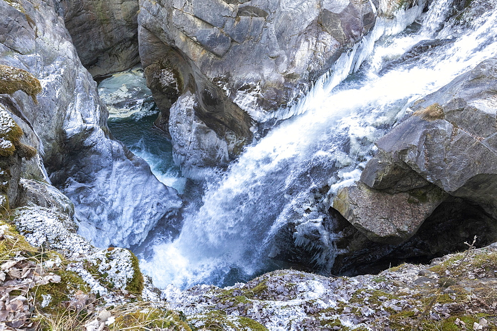 Waterfall of Mallero Gorge in winter, Valmalenco, Valtellina, Lombardy, Italy, Europe - 1269-473