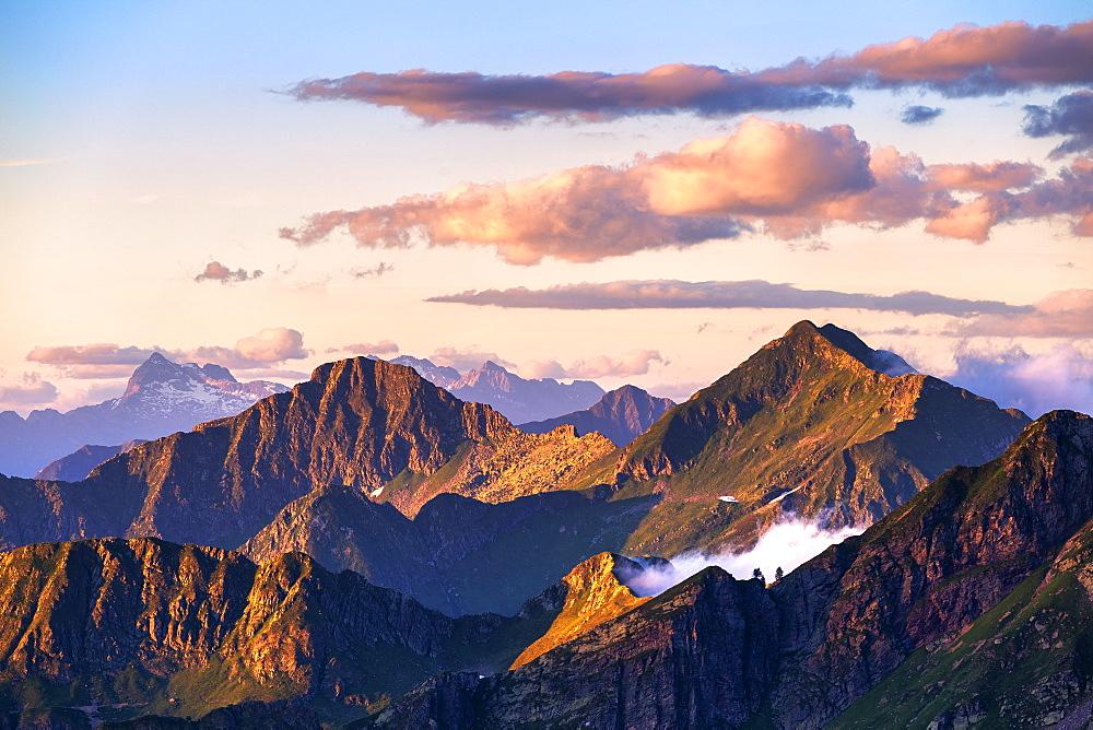 Peaks at sunset, Valgerola, Orobie Alps, Valtellina, Lombardy, Italy, Europe - 1269-479