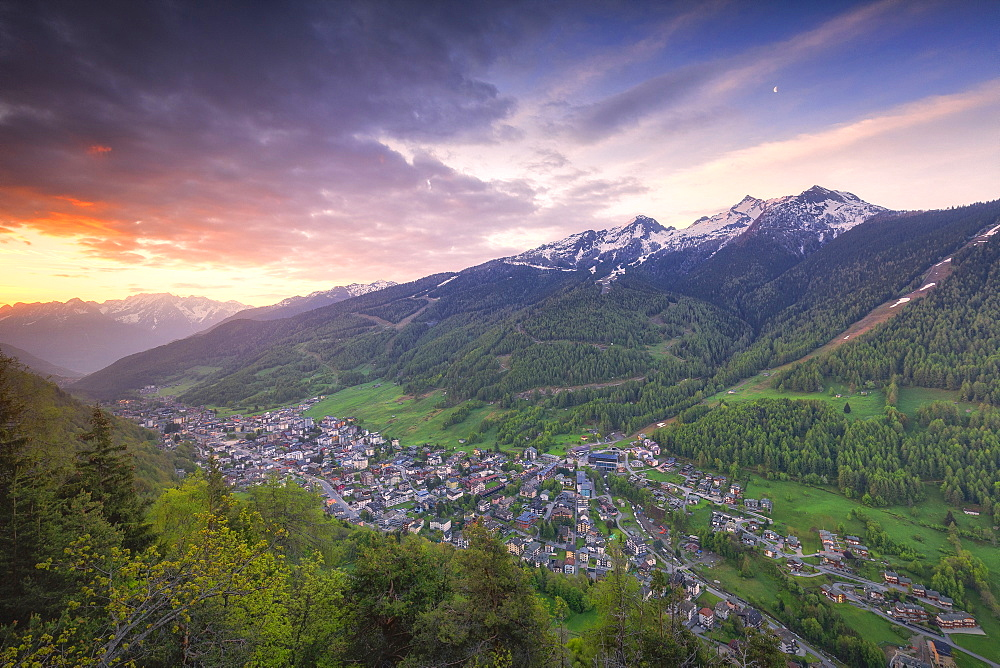 Sunrise on the village from above, Aprica, Orobie Alps, Valtellina, Lombardy, Italy, Europe - 1269-481