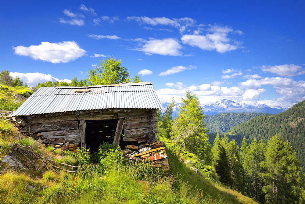 Old hut with Rhaetian Alps in the background, Valgerola, Orobie Alps, Valtellina, Lombardy, Italy, Europe - 1269-484
