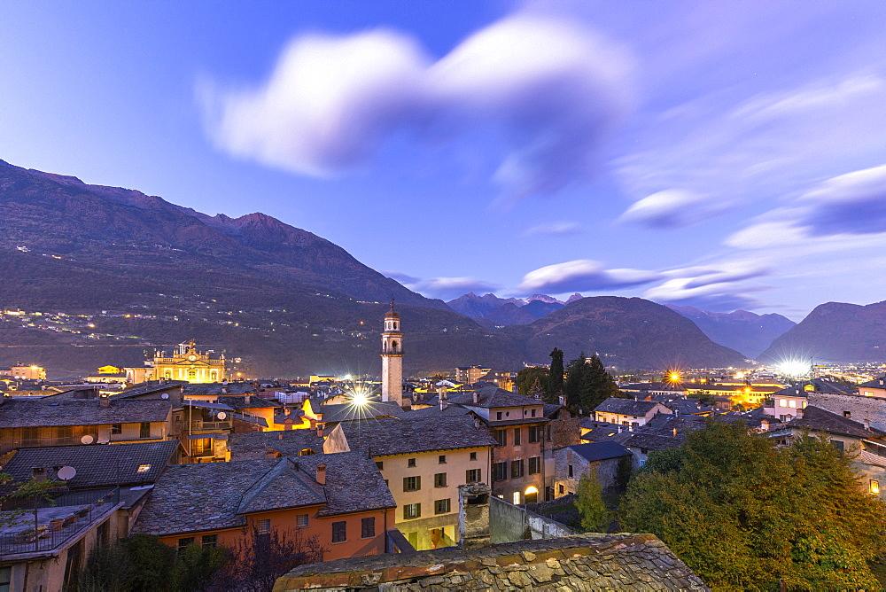 City of Morbegno at dusk, Valtellina, Lombardy, Italy, Europe - 1269-489