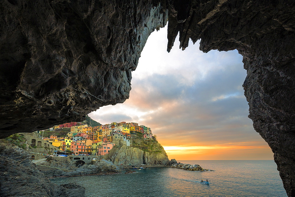 Sunrise on the village of Manarola from a sea cave, Cinque Terre, UNESCO World Heritage Site, Liguria, Italy, Europe - 1269-499