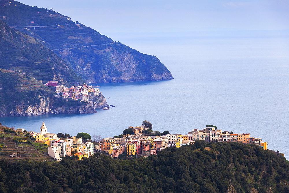 Village of Corniglia and Manarola, Cinque Terre, UNESCO World Heritage Site, Liguria, Italy, Europe - 1269-501