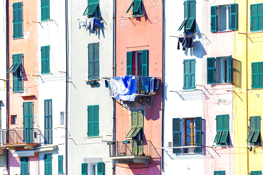 Detail of traditional houses of Porto Venere, Cinque Terre, UNESCO World Heritage Site, Liguria, Italy, Europe - 1269-508