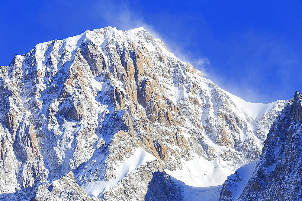 Mont Blanc peak swept by the wind, Veny Valley, Courmayeur, Aosta Valley, Italy, Europe - 1269-51