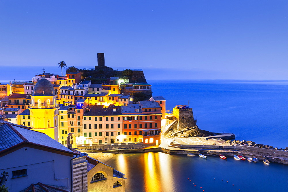 Village of Vernazza at dusk, Cinque Terre, UNESCO World Heritage Site, Liguria, Italy, Europe