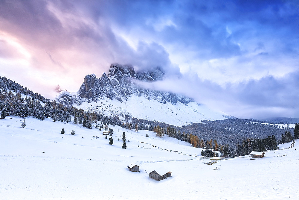 Odle group from Malga Caseril during sunrise, Funes Valley, Sudtirol (South Tyrol), Dolomites, Italy, Europe - 1269-52