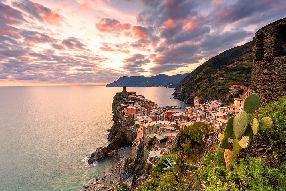 Elevated view of Vernazza at sunset, Cinque Terre, UNESCO World Heritage Site, Liguria, Italy, Europe - 1269-524