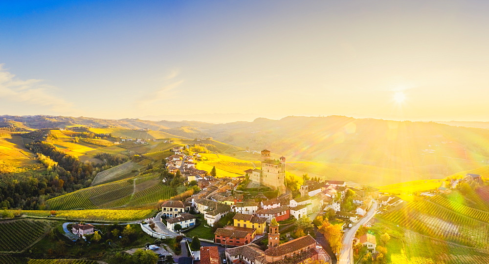 Aerial view of Serralunga d'Alba at sunset, Barolo wine region, Langhe, Piedmont, Italy, Europe