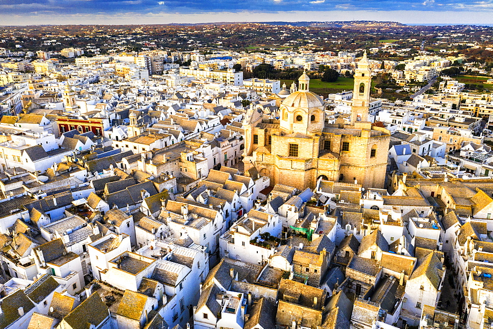 Aerial view of Locorotondo church at sunset, Locorotondo, Apulia, Italy, Europe