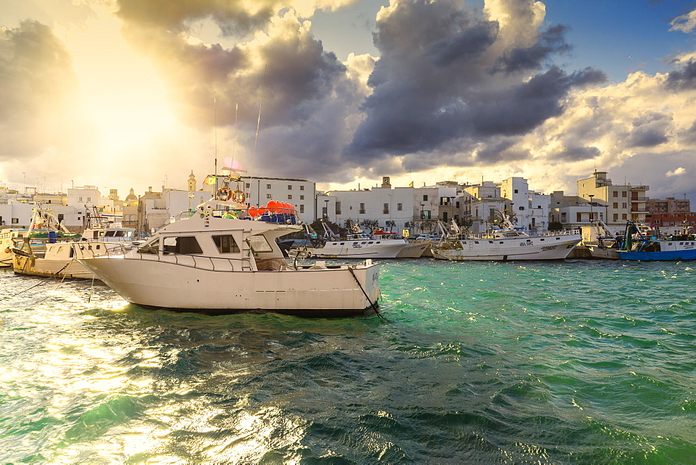 Cloudy sunset in the port of Monopoli, Apulia, Italy, Europe