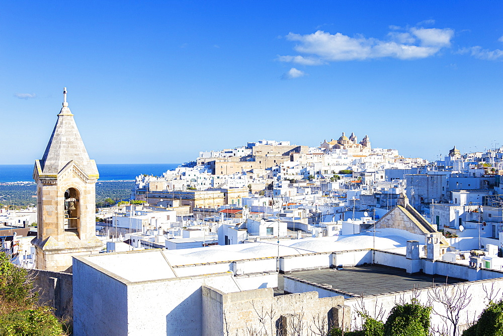 The white village of Ostuni called 'The white city'. Ostuni, Apulia, Italy, Europe.