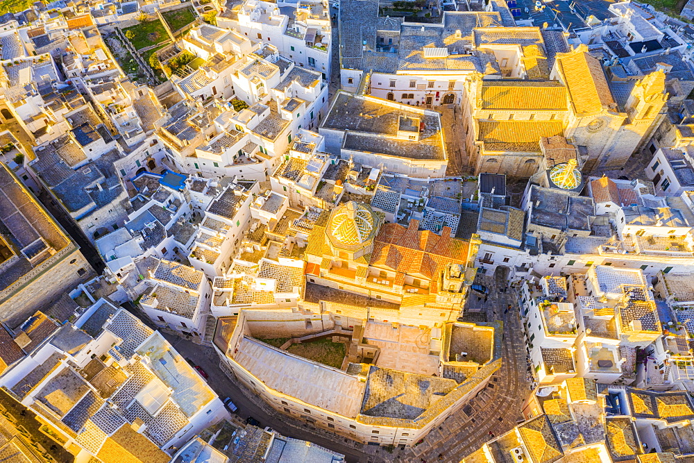 Zenithal aerial view of the old town of Ostuni at sunset, Apulia, Italy, Europe - 1269-566