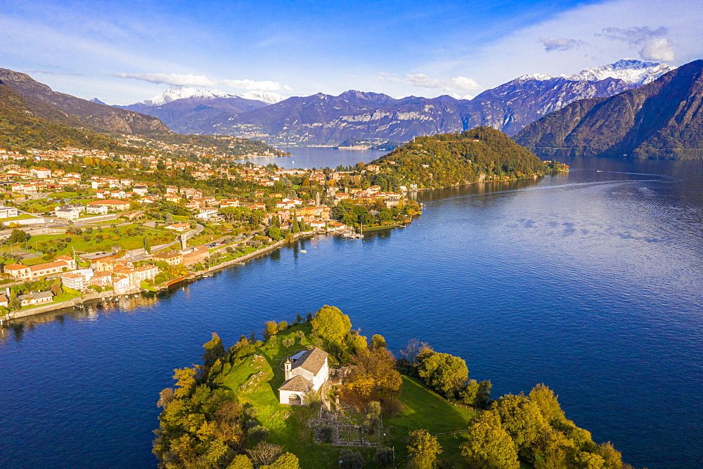 Aerial view of Comacina Island and Tremezzina in autumn, Lake Como, Lombardy, Italian Lakes, Italy, Europe