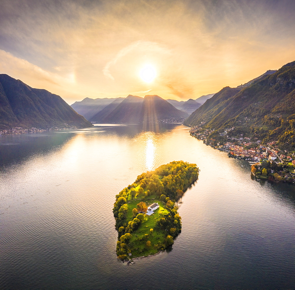 Aerial view of Comacina Island at sunset, Lake Como, Lombardy, Italian Lakes, Italy, Europe - 1269-577