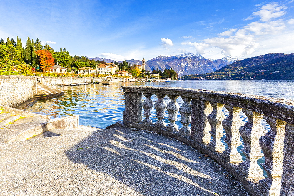 Lakeshore terrace with view of the village of Tremezzo, Lake Como, Lombardy, Italian Lakes, Italy, Europe