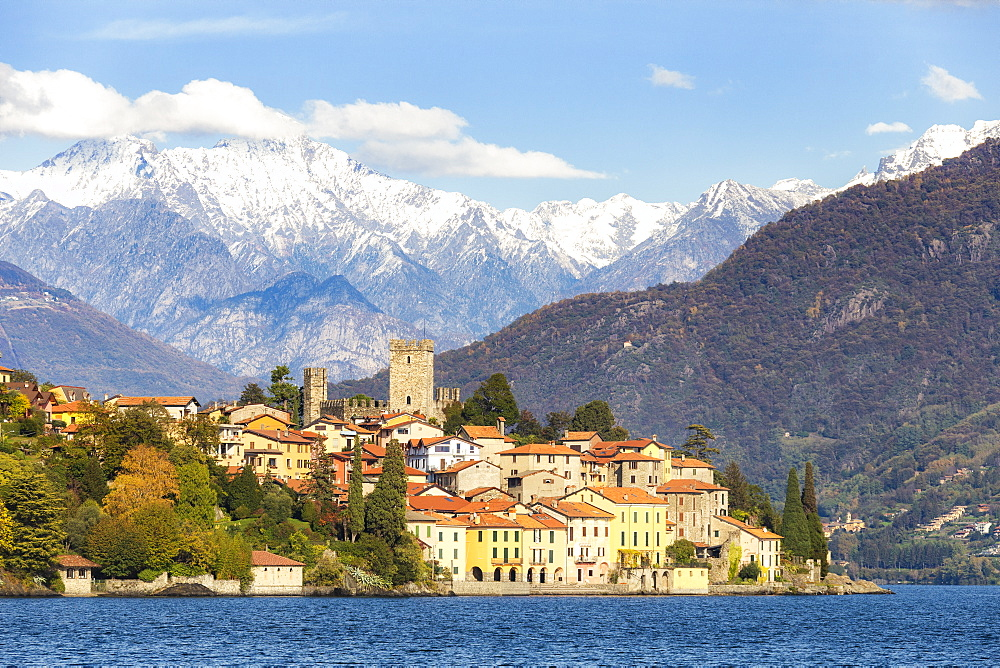Village of Rezzonico with snowcapped mountains in the background, Lake Como, Lombardy, Italian Lakes, Italy, Europe