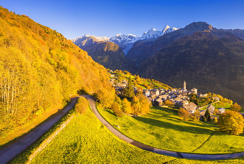 Aerial view of Soglio in autumn, Soglio, Bregaglia valley, Graubunden, Switzerland, Europe - 1269-624