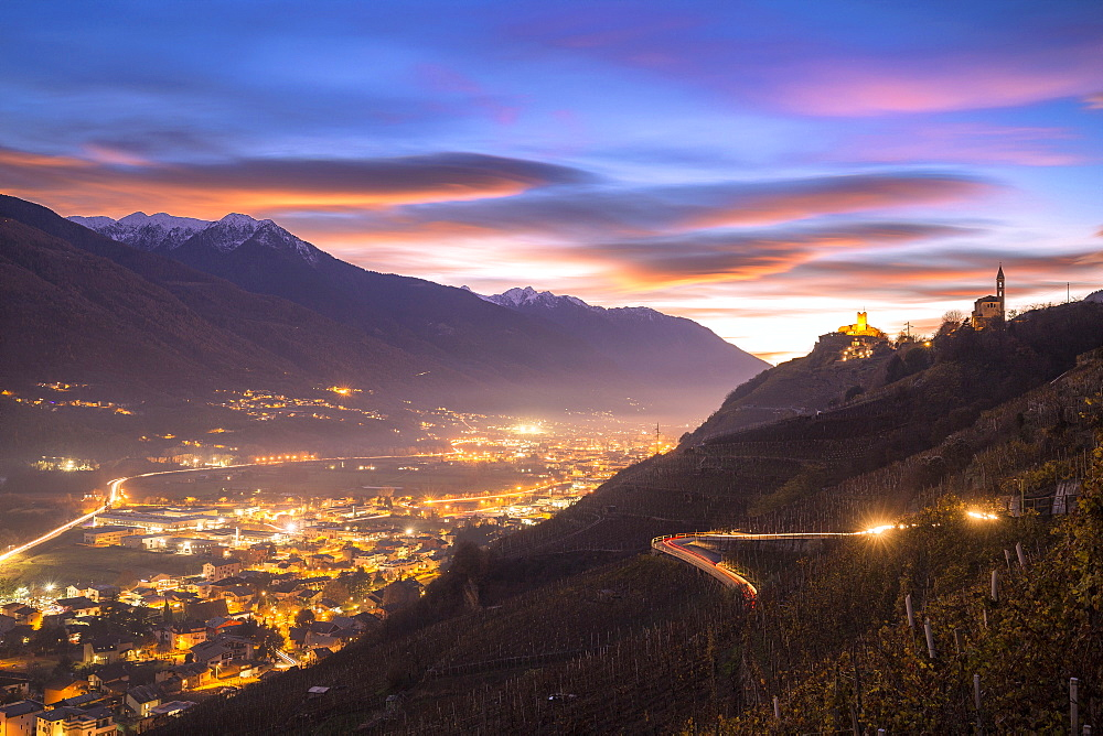 Lenticular sunset from vineyards of Valtellina, Lombardy, Italy, Europe - 1269-63