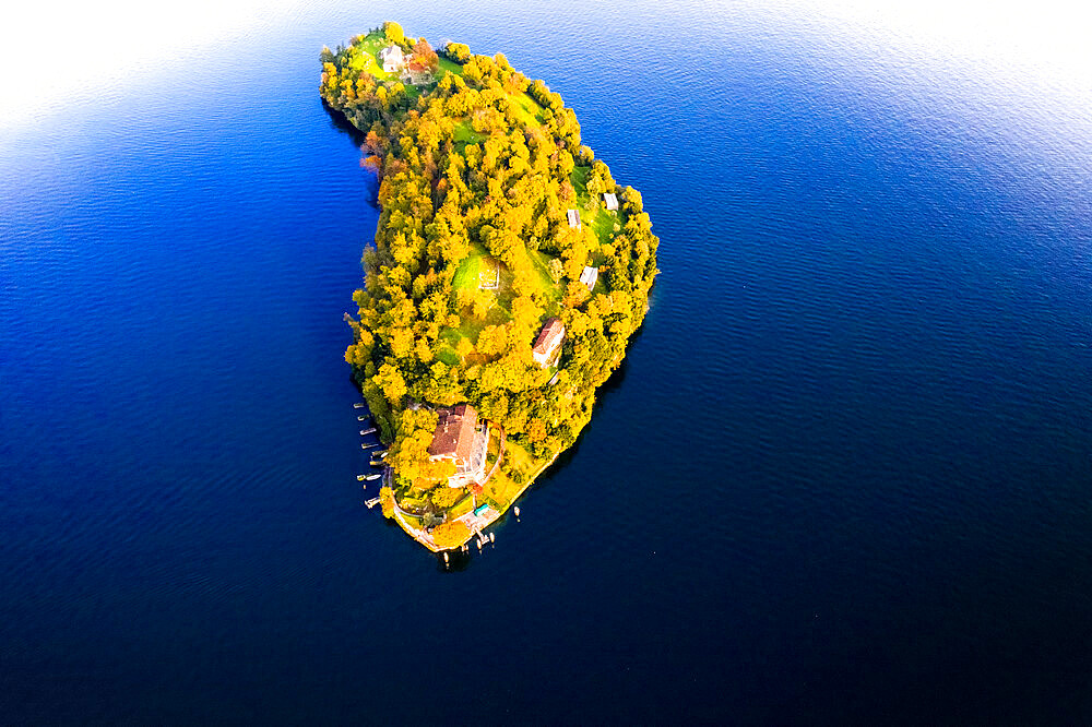 Aerial view of Comacina Island during autumn, Lake Como, Lombardy, Italian Lakes, Italy, Europe - 1269-677
