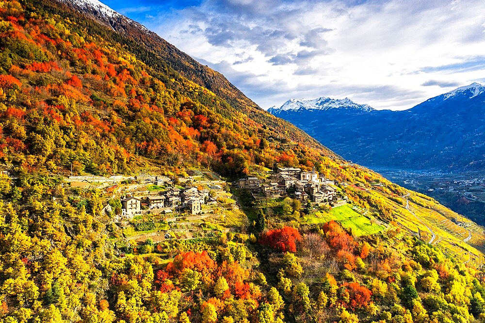 Aerial view of traditional village, Valtellina, Lombardy, Italy, Europe - 1269-704