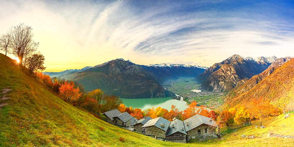 Panoramic view of the old village of chalets, Valchiavenna, Valtellina, Lombardy, Italy, Europe - 1269-709