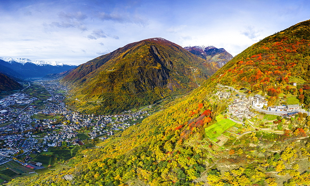 Aerial view of traditional village, Valtellina, Lombardy, Italy, Europe - 1269-715