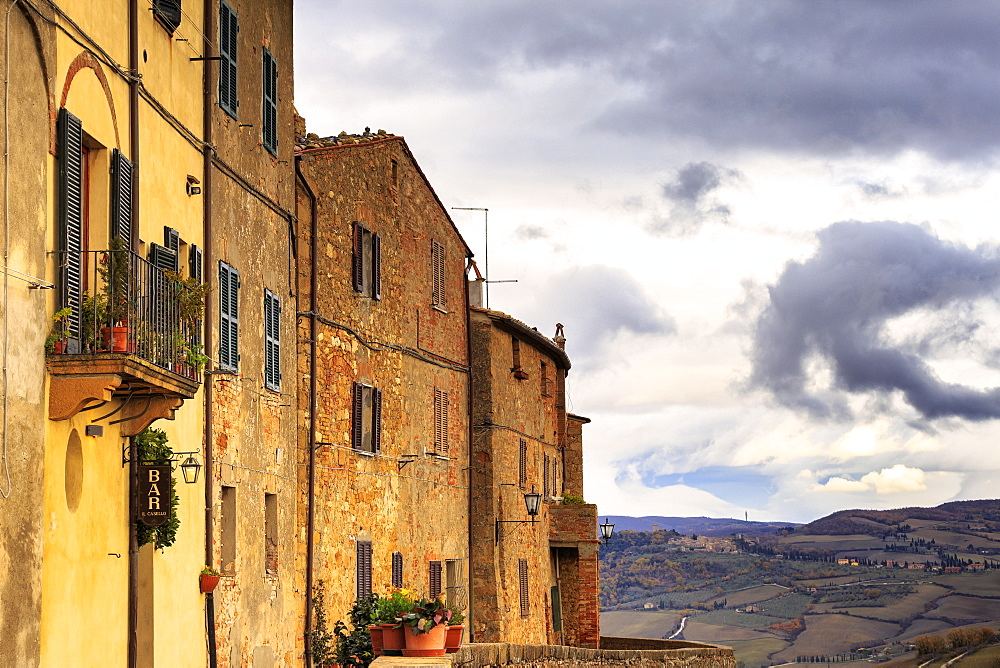 Typical houses of Pienza, Val d'Orcia, Siena province, Tuscany, Italy, Europe - 1269-77