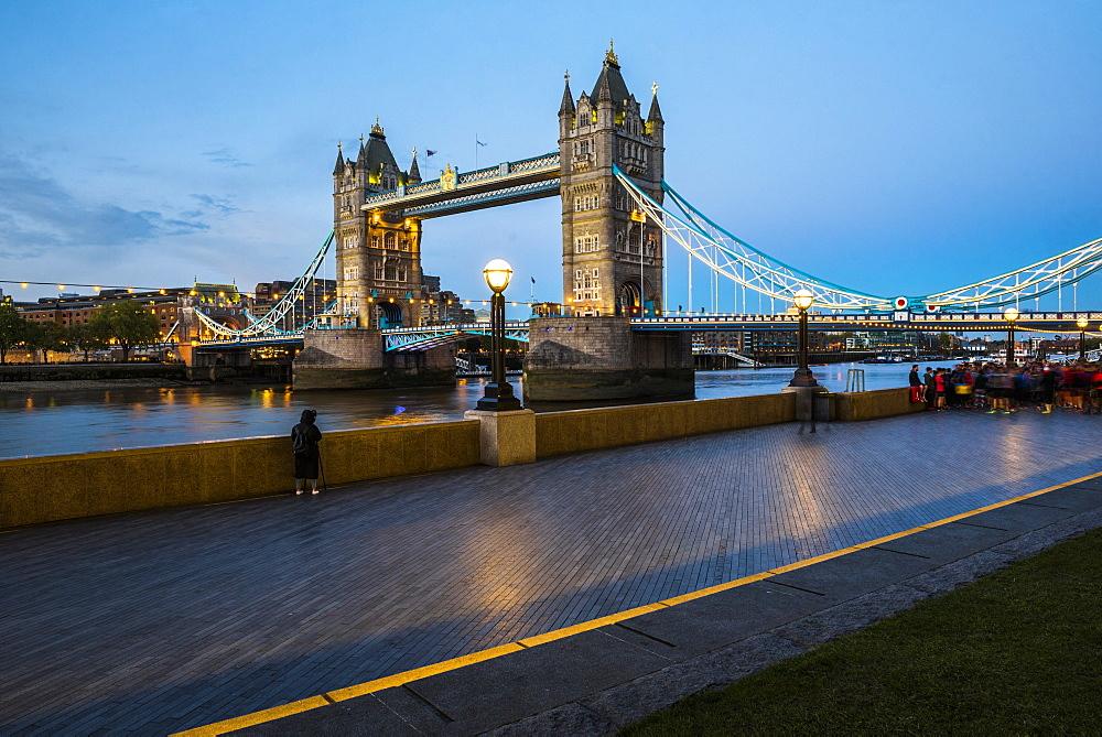 Tower Bridge at night, Southwark, London, England