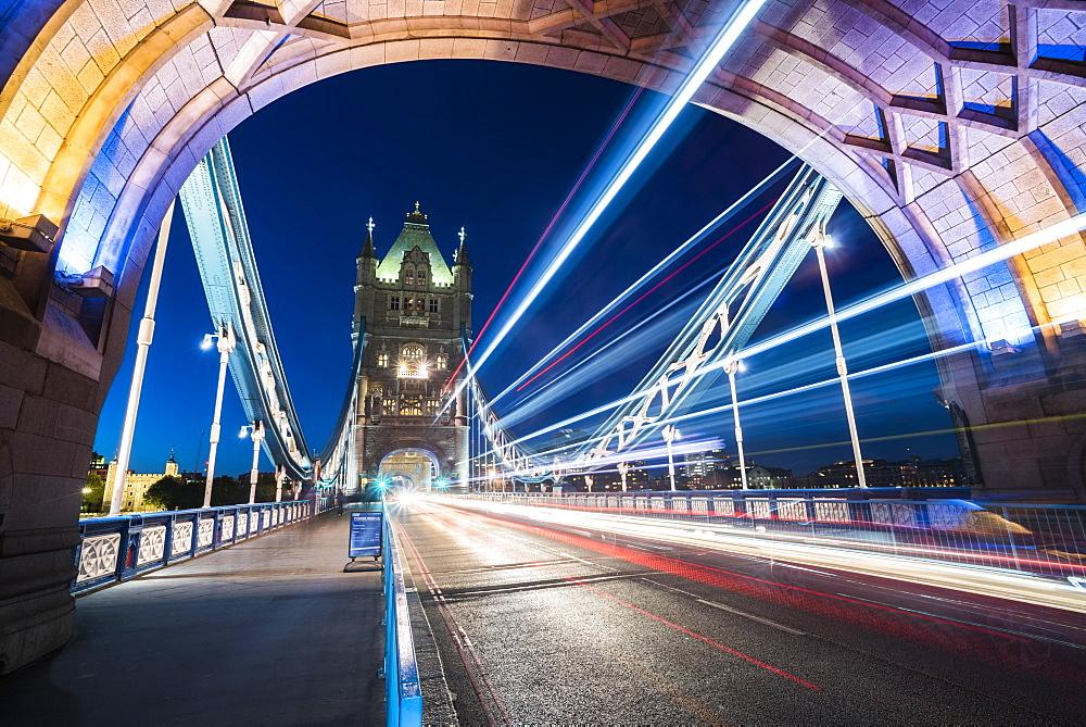 Tower Bridge at night, Southwark, London, England, United Kingdom, Europe - 1272-119