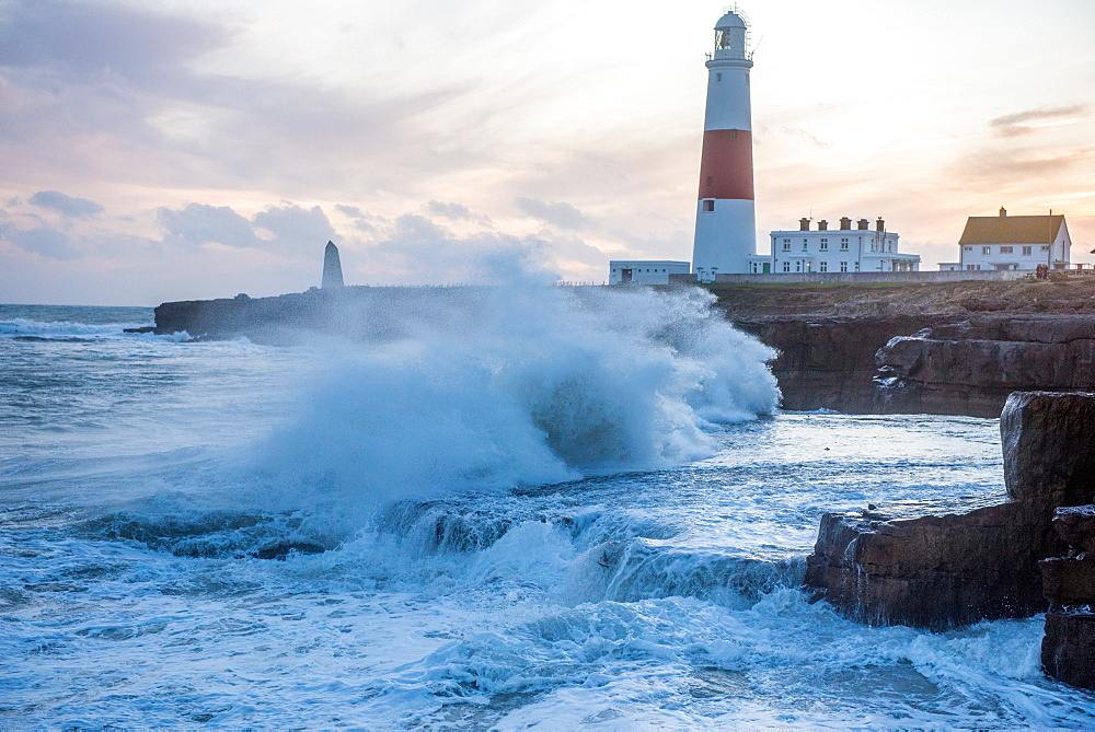 Crashing waves on Portland Bill Lighthouse in Portland on the Isle of Portland, Jurassic Coast, UNESCO World Heritage Site, Dorset, England, United Kingdom, Europe