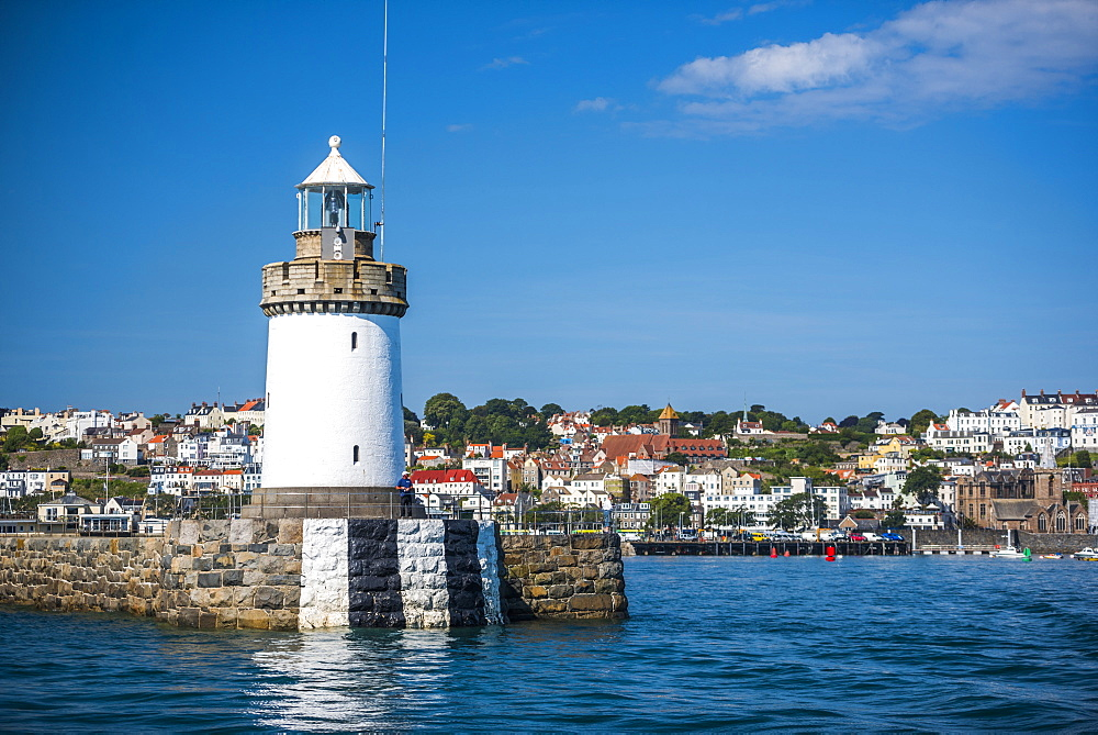 Lighthouse in St. Peter Port Harbour, Guernsey, Channel Islands, United Kingdom, Europe