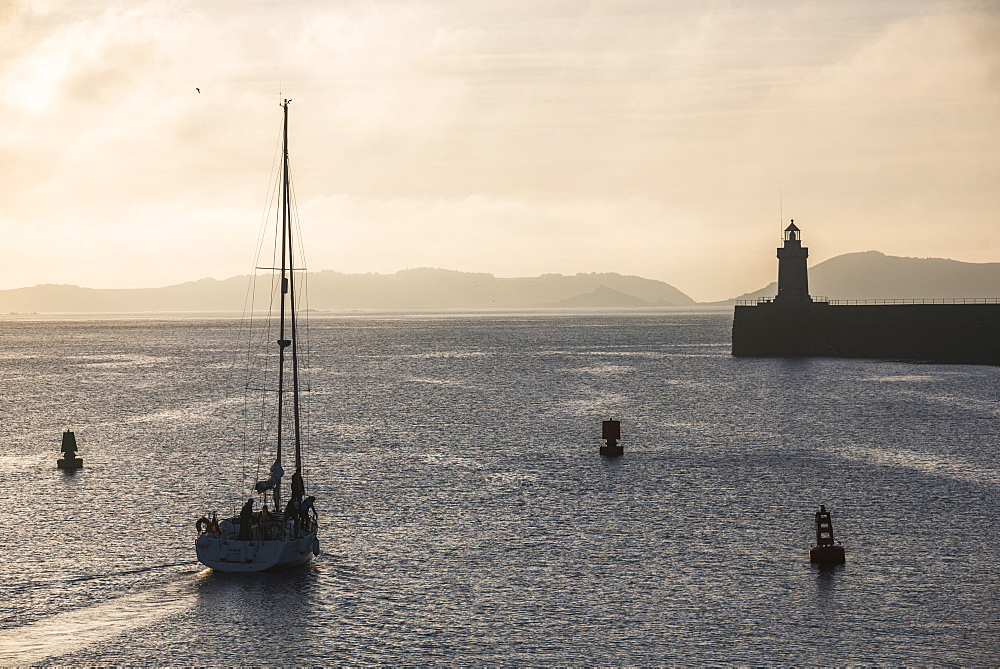 Sailing boat heading out of St. Peter Port Harbour at sunrise, Guernsey, Channel Islands, United Kingdom, Europe