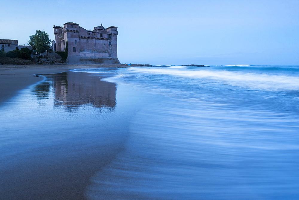 Santa Severa Beach and Castle at dawn, Province of Rome, Lazio, Italy, Europe
