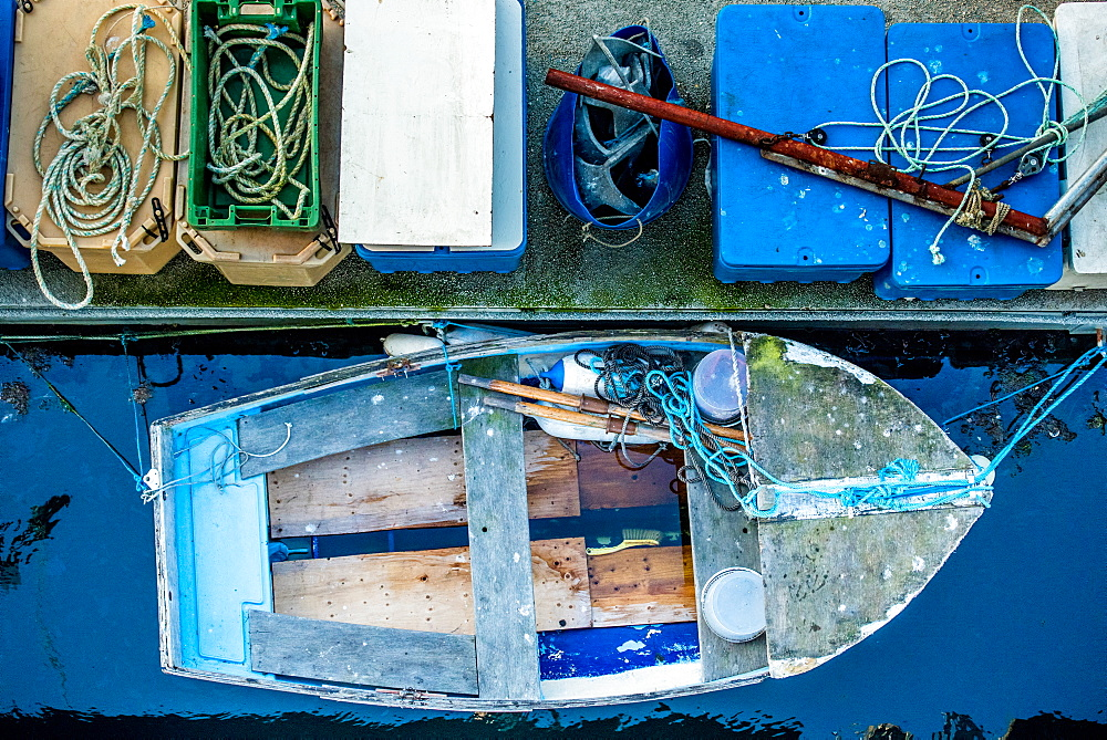 Docked fishing boat, Guernsey, Channel Islands, United Kingdom, Europe
