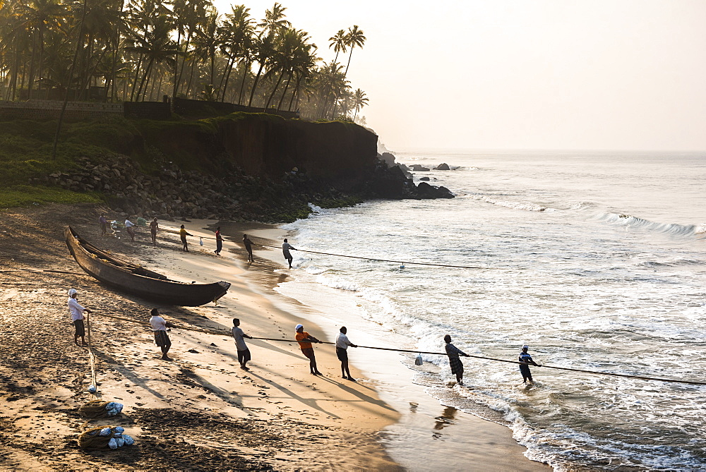 Fishermen at Kappil Beach, Varkala, Kerala, India, Asia - 1272-228